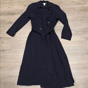 H&M Navy Trench Coat with side slits